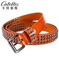 CASTELLES Rebite Mulher Designer de Cintos Para As Mulheres Couro Genuíno Cinto de Moda Feminina de Alta Qualidade Tiras de Cinturones Mujer