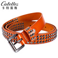 CASTELLES Rivet Belts For Women Genuine Leather Designer Woman Fashion Female Belt High Quality Straps Cinturones Mujer