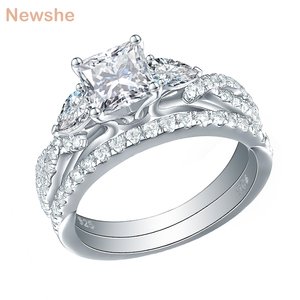 Image 1 - Newshe 2 Pcs Wedding Ring Set Trendy Jewelry 925 Sterling Silver 2.3 Ct Princess Cut  AAA CZ Engagement Rings For Women