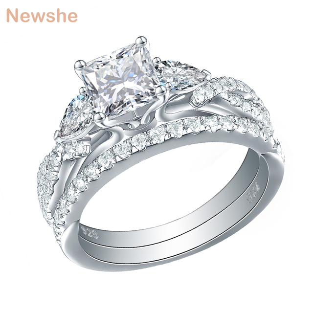 Newshe 2 Pcs Wedding Ring Set Trendy Jewelry 925 Sterling Silver 2.3 Ct Princess Cut  AAA CZ Engagement Rings For Women