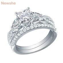 Newshe 2 pçs conjunto de anel de casamento na moda jóias 925 prata esterlina 2.3 ct princesa corte aaa cz anéis de noivado para mulher