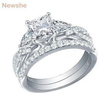 61f623d2c0f0 Newshe 2 piezas boda anillo de joyería de moda de plata esterlina 925 2
