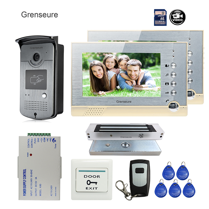 FREE SHIPPING BRAND 7 Home Color Recording Screen Video Door phone Intercom 2 Monitors + RFID Card Reader Door Camera + EM Lock free shipping brand new 7 home video intercom door phone system with recording monitor rfid card reader door camera wholesale