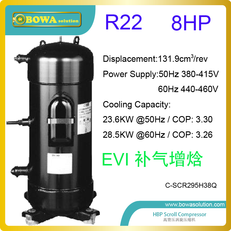 8HP R22 EVI heat pump compressors are specially designed for floor heating & room radiators in villa and office buildings 3phase 10hp r407c compressor 36 8kw heating capacity specially designed for hotel and resturant water heater