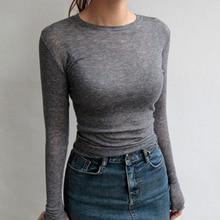 Autumn Sexy Thin T shirt Women Long Sleeve