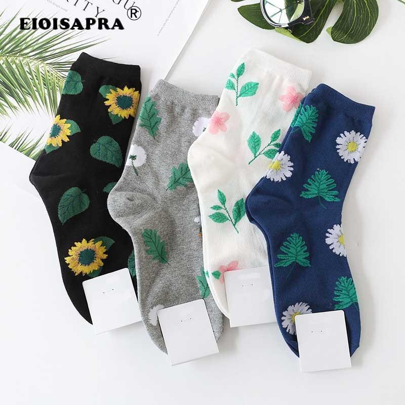 Cute Jacquard/Plants Flowers Pattern Printing Art Socks Women Dandelion/Sunflower Socks Fashion Soft Calcetines Sokken