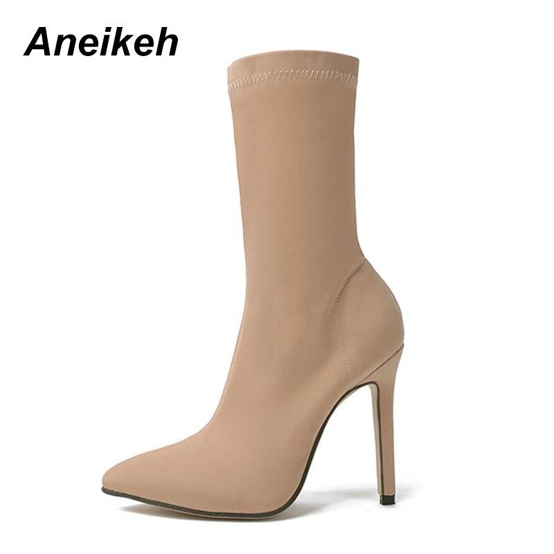 c29f56866 calf 40 Inverno Alto Tamanho Stretch Salto Mid 35 Aneikeh Stiletto Mulheres  Preto Sapatos Dedo Tecido Botas Sexy Moda 2018 ...