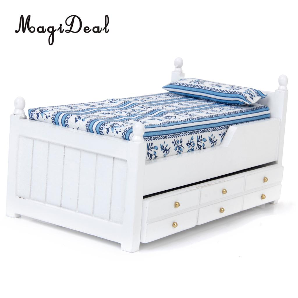 MagiDeal 1:12 Wood Dollhouse Miniature Drawer Bed Furniture Model Two Layers Wood For Dolls Bedroom Acc Model Toy Children Toy