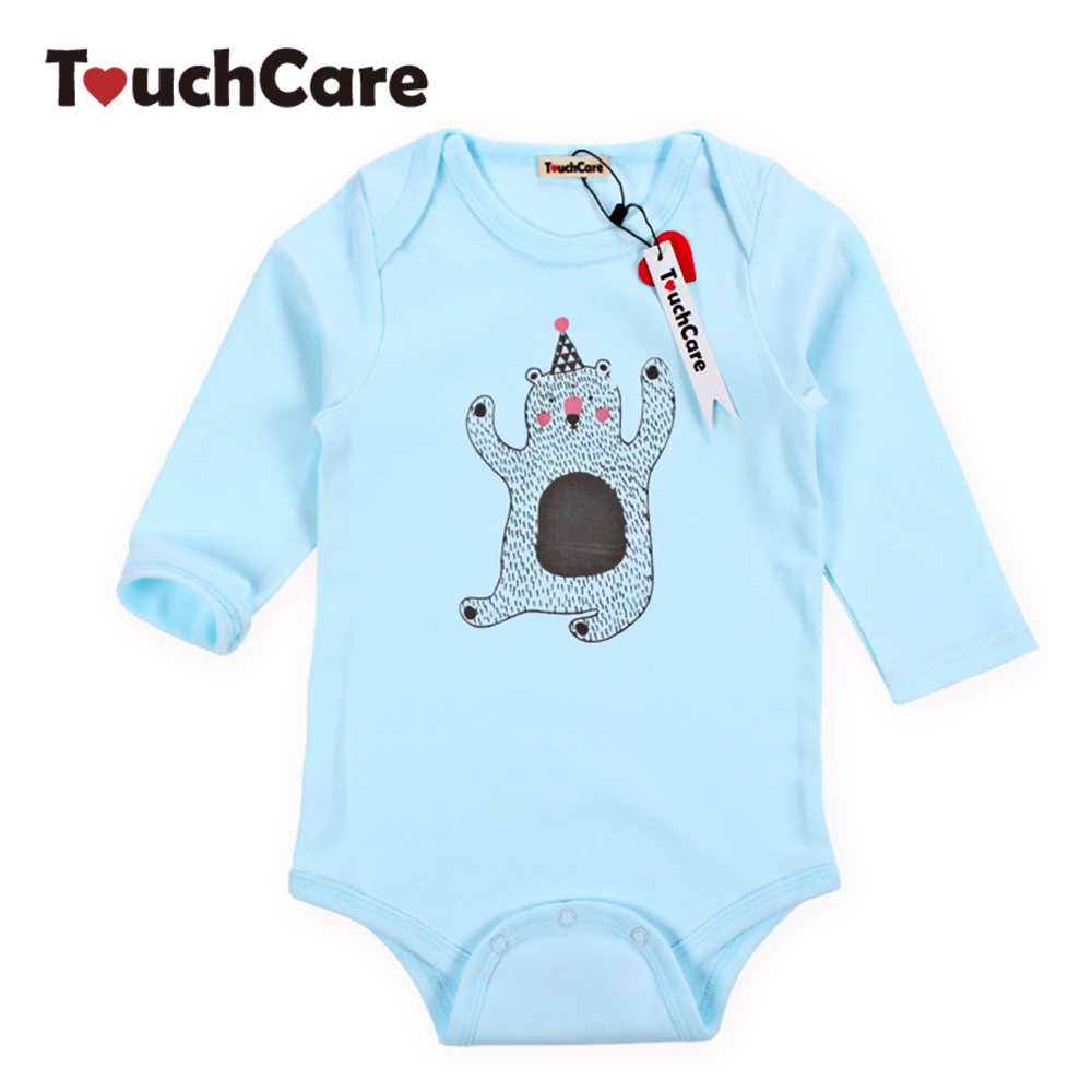 Newborn Cute Cartoon Bear Printed Baby Boys Girls Rompers Infant Soft Cotton Kids Jumpsuit Long Sleeve Blue Toddler Clothes newborn baby girls rompers 100% cotton long sleeve angel wings leisure body suit clothing toddler jumpsuit infant boys clothes