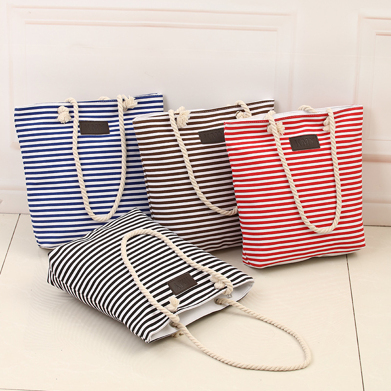 New Cotton Canvas Summer Beach Bag Ladies Shoulder Bags Women Tote Bags Large Female Handbags Casual Striped-15