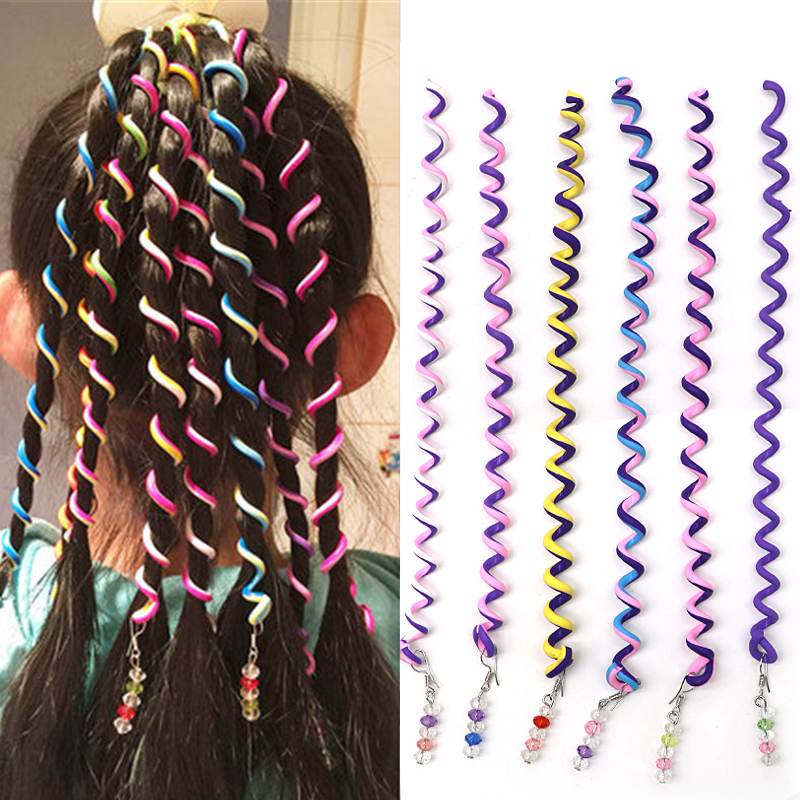 6pcs Rainbow Color Hair Braiding Tools for Girls Spiral Hair Bands for Styling Hair Hairstyle Elastic Headbands Hair Accessories
