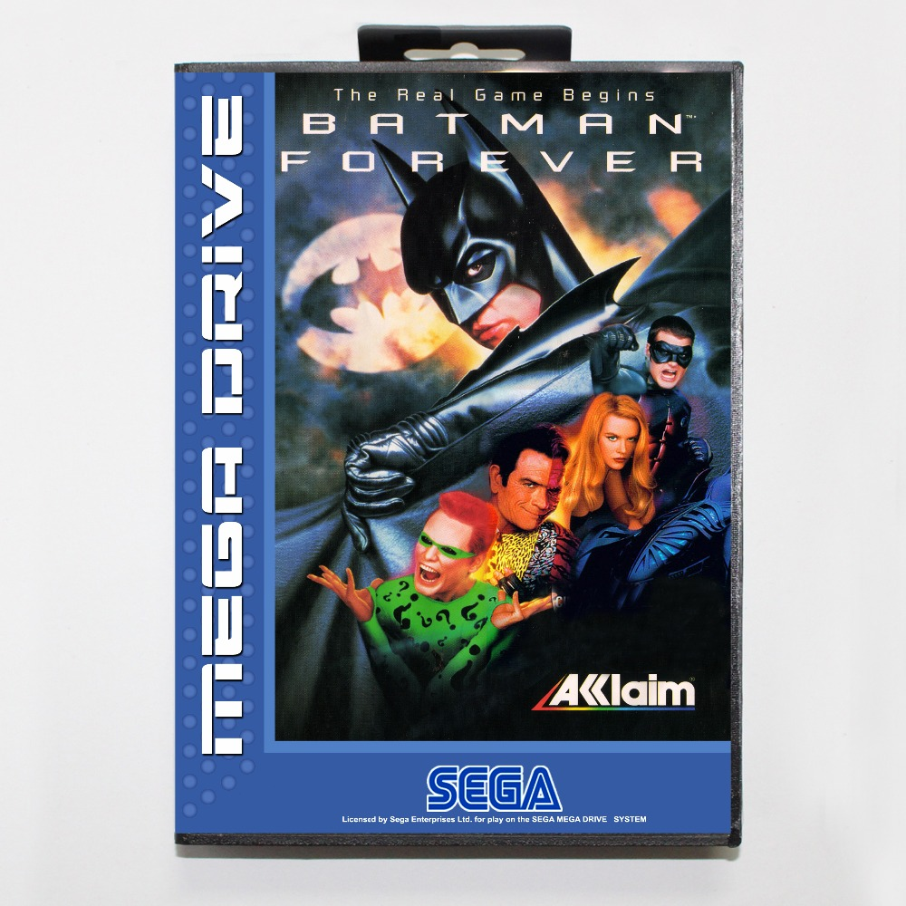 Batman Forever 16 bit MD card with Retail box for Sega MegaDrive Video Game console system