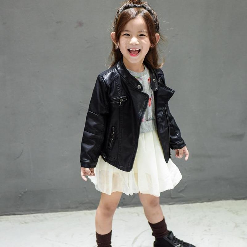 2019 Spring Baby Girls & Boys Leather Jacket Koreanska Barnkläder Baby Black Zipper Cardigan Coat Kids Outwear För 2-7år