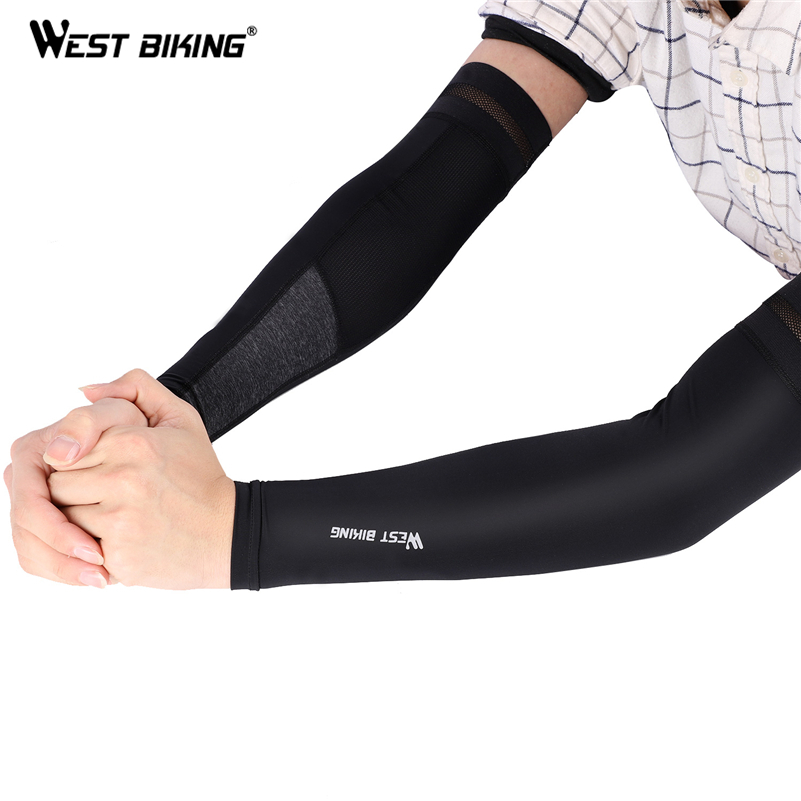 running - WEST BIKING Cycling Running Arm Sleeve Bicycle UV Protection Cuff Cover Bike Sport Arm Warmers Cool Men Women Cycling Sleeves
