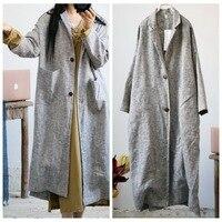 Women Retro Linen Thick Linen Trench Coat Outwear Ladies Autumn Spring Overcoat Long Coat Female Vintage Flax Coat 2019