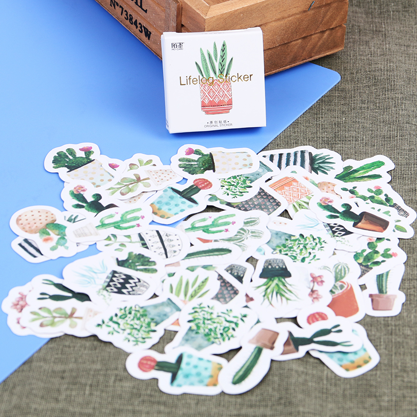 45PCS/set Kawaii Green Plants Cactus Decoration Stationery Stickers DIY Diary Planner Label Stickers Student Supplies 45pcs box stationery stickers vaporwave diy planet sticky paper kawaii moon plants stickers for decoration diary scrapbooking