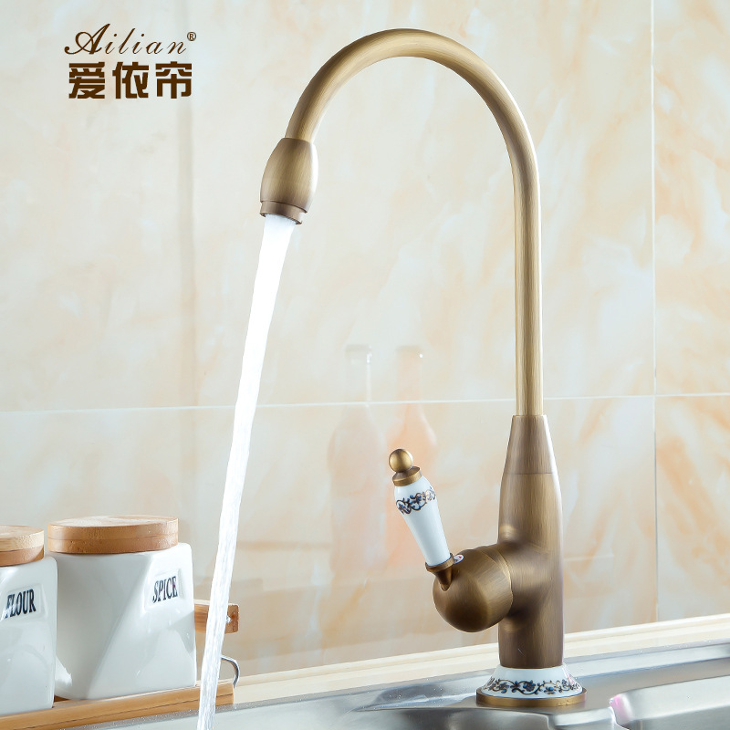 FREE SHIPPING 100 Factory wholesale Continental Palace Hotel Luxury kitchen faucet antique porcelain hot and cold