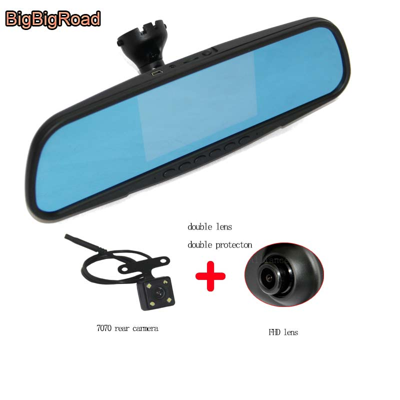BigBigRoad For audi A6L 2008 Car camera Blue Screen front DVR rearview mirror video registrator dashcam parking monitor bigbigroad car dvr for toyota avensis blue screen rearview mirror video recorder car parking camera black box night vision
