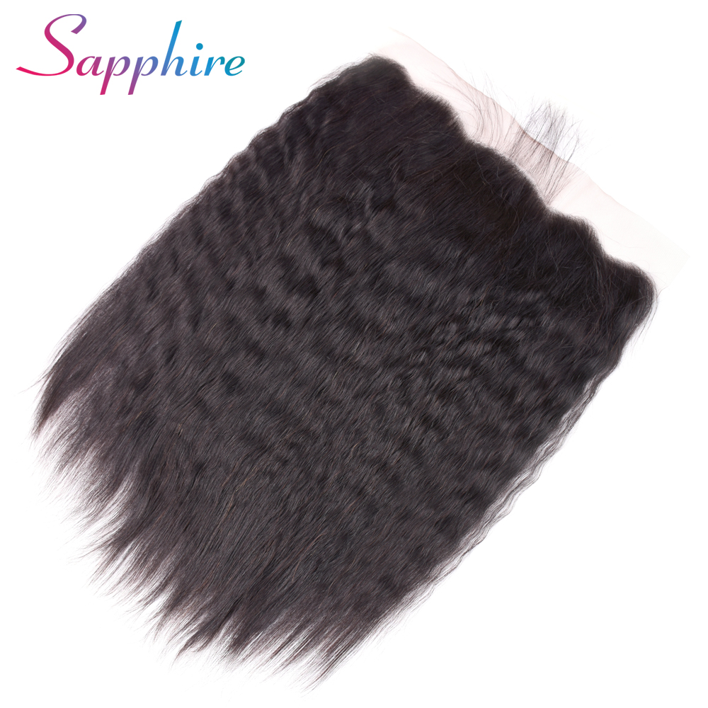 Sapphire Peruvian Kinky Straight Lace Frontal Closure With Baby Hair Non Remy Human Hair 13x4  Ear To Ear Lace Closure