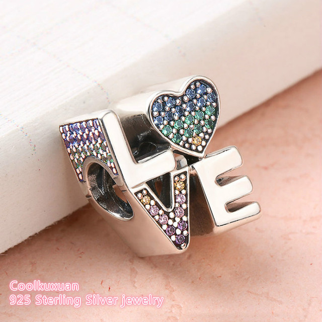 515a6bb5a 2018 Summer Original 925 Sterling Silver Multi-Color Love Charm,  Multi-Colored CZ Beads Fit Pandora Charms Bracelet DIY jewelry