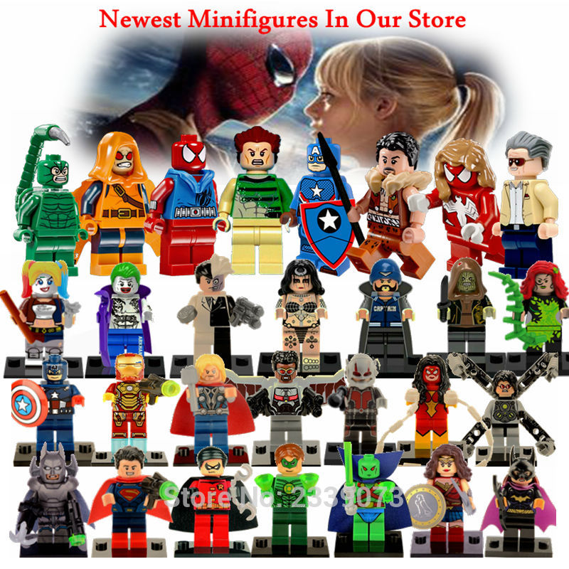 Doll Legoing Super Heroes Figure Toy Spiderman Batman Superman Iron Man Toy For Children Deadpool  Legoings Marvel Figure Blocks