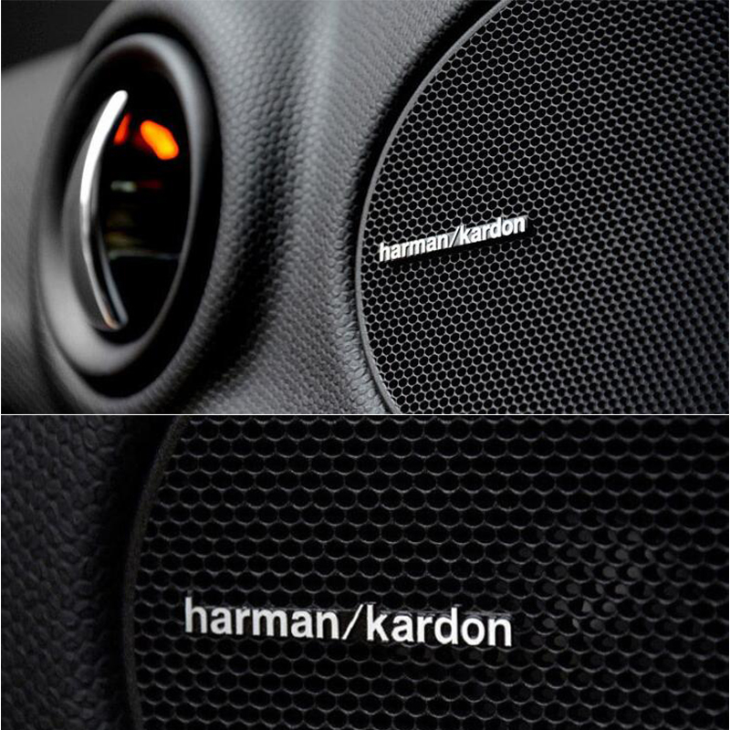 3D Metal Aluminum Alloy Harman Kardon Audio Speaker Stickers Accessories Emblem Decal For Toyota Corolla BMW Serie 1 5 X1 Mini