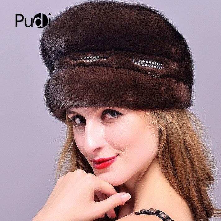 2019 real chapéu de pele de vison importado feminino boné de pele de luxo high end chapéu de pele natural senhoras inverno chapéu quente com tampão octogonal boné - 2