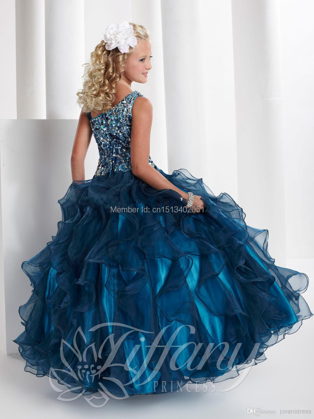 Pics photos girls party dress christmas - Aliexpress Com Buy 2015 New Blue Princess Girl Party Dresses Flower Sequined Tutu Style Wedding Dress For Christmas Girls Clothes From Reliable Dress