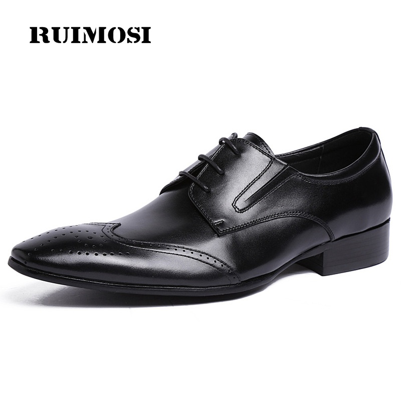 RUIMOSI High Quality Wing Tip Man Dress Shoes Vintage Genuine Leather Formal Oxfords Pointed Toe Derby Men's Brogue Flats UH39