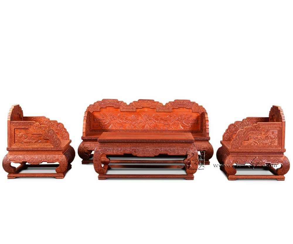 1 + 3 miejsca luksusowy Sofa meble meble 4-sztuk zestaw Rosewood Hotel salon z litego drewna kanapie i tron i krzesła apartament rzeźba
