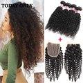 Productos para el Cabello rosa Brasileño de la Virgen Del Pelo 4 Bundles con el Cordón cierre Rizado Rizado Vírgenes Ofertas de Paquete Pelo Rizado Tejido Humano pelo
