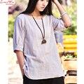 Cheap manga curta pure fresco camisa lino obeso lady sólidos T-shirt da arte do vintage