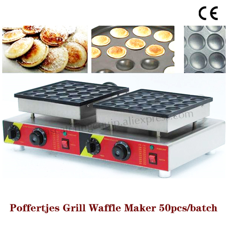 Double Pans Small Pancake Machine Poffertjes Machine with Non-stick Pan Poffertjes Grill Waffle Maker with 50 pcs Moulds double pans small pancake machine poffertjes machine with non stick pan poffertjes grill waffle maker with 50 pcs moulds