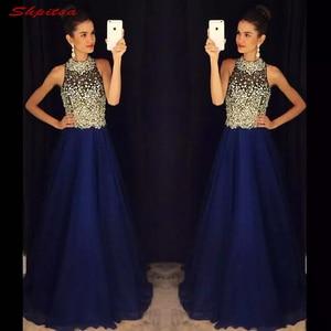 Image 1 - Vestidos de novia de talla grande con cuentas, azul marino
