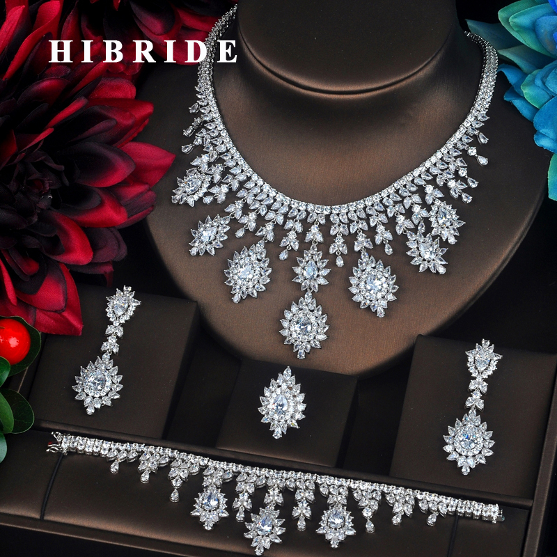HIBRIDE 4 PCS Sets Luxury Shinny Cubic Zirconia Queen Women Jewelrt Sets Bridal Fashion Jewelry Wedding