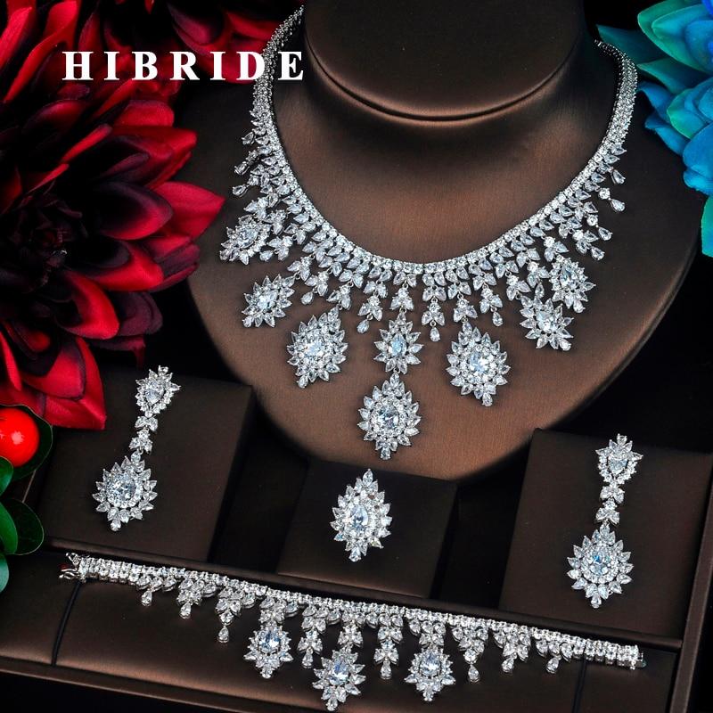 HIBRIDE 4 PCS Sets Luxury Shinny Cubic Zirconia Queen Women