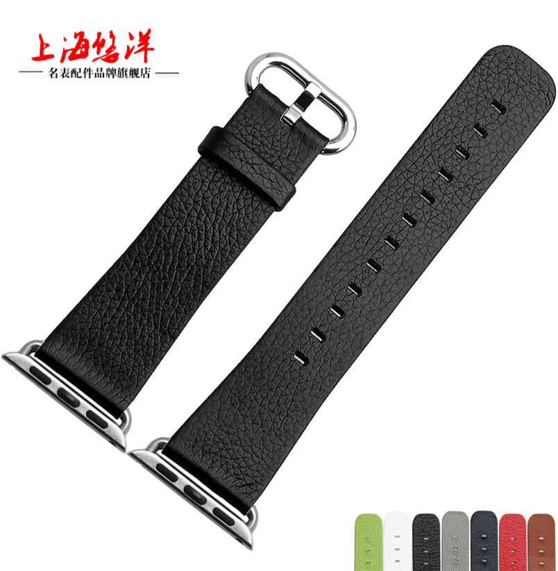 38mm 42mm Watch Strap Black Genuine leather watchband For a p p l e watch free
