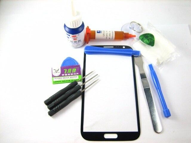 Переднее Стекло (без ЖК-Дисплей С Сенсорным Экраном) + полный Набор Инструментов + Отвертка + Клей + Разрыхлитель для Samsung Galaxy Note 2 Серый