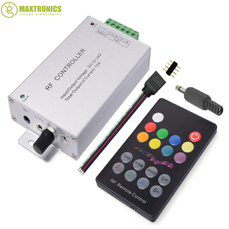 DC12V-24V 18 Keys RGB Music LED Controller RF Remote Sound Sensor Voice Audio Control For 3528 5050 RGB LED Strip Light mini wifi rgb strip light controller with music control and voice control compatible with google home