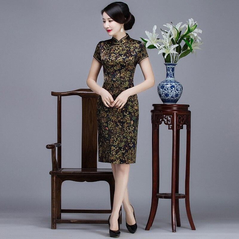 BLACK Floral Women Elegant Silk Chinese Dress Sexy Short Sleeve Split Cheongsam Vestidos Mandarin Collar Classic Qipao M-XXXL