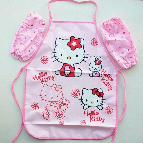 (10 Sets/partij) Kawaii Waterdichte Pvc Kwaliteit Cartoon Hello Kitty 1 ~ 4 Jaar Kinderen Meisje Tekening Diner Schorten Kit Laatste Stijl