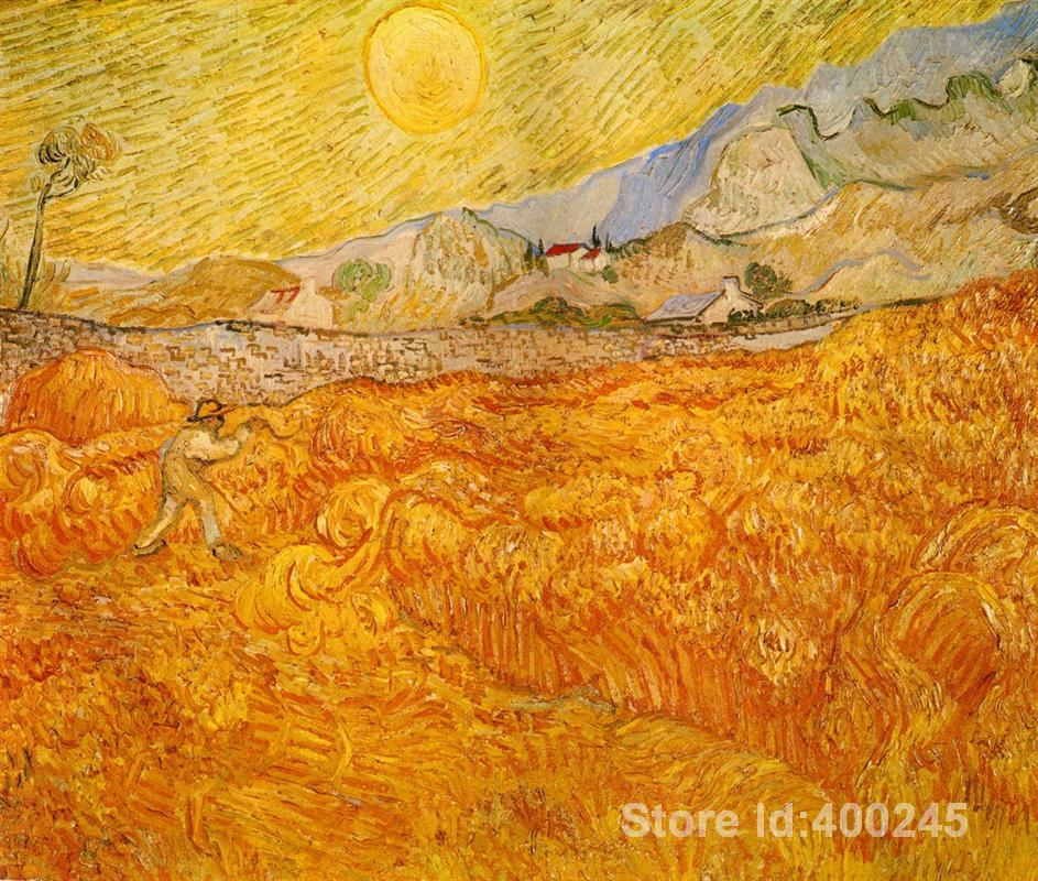 art painting for living room Wheat Field behind Saint Paul Hospital with a Reaper Vincent Van Gogh High quality Hand painted