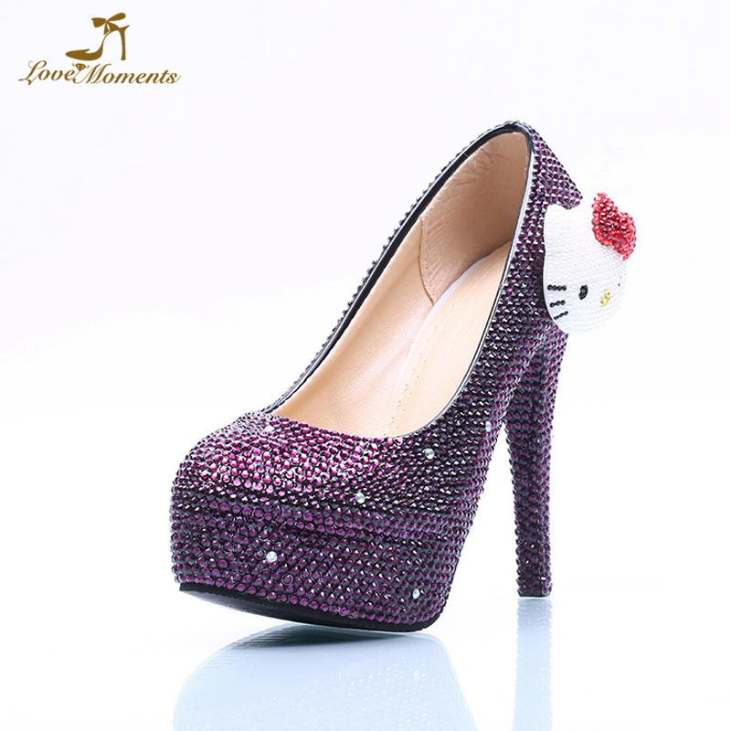 Rhinestone Purple Marriage Wedding Shoes Bride High Heels Kitty Style Mother of the Bride Shoes Nightclub Party Prom Shoes