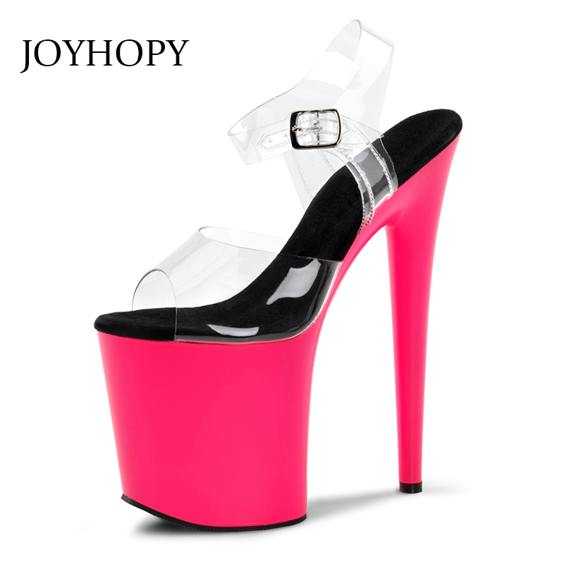 2019 20cm Sexy Summer Party High Heel Shoes Women Mixed Color Peep Toe Gladiator Sandals Female Thin Heel Platform Pumps 1765-2