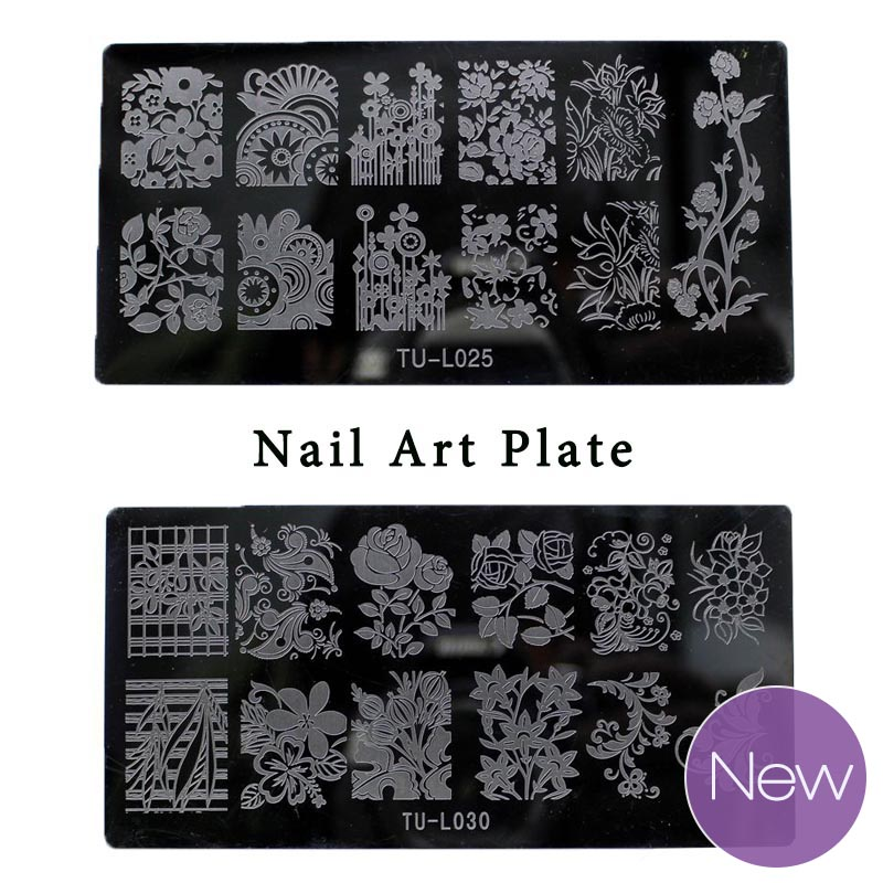 Naujas dizainas nagų dailės plokštelė 6 * 12 cm nagų štampavimas TU-L 30 stiliaus nėrinių gėlės gyvūnų vaizdų šablonas Spausdinti nagų patarimus DIY manikiūras