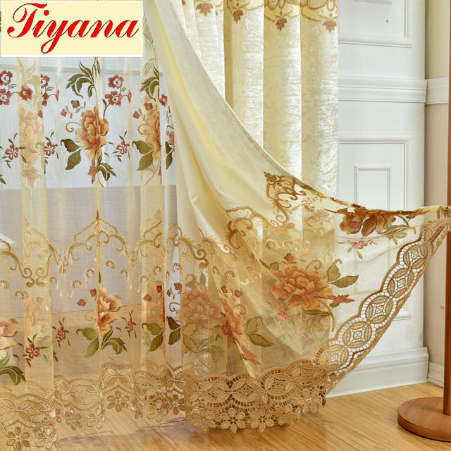 High End Curtain For Living Room Door Elegant Drapes Curtains European  Golden Royal Luxury Curtain