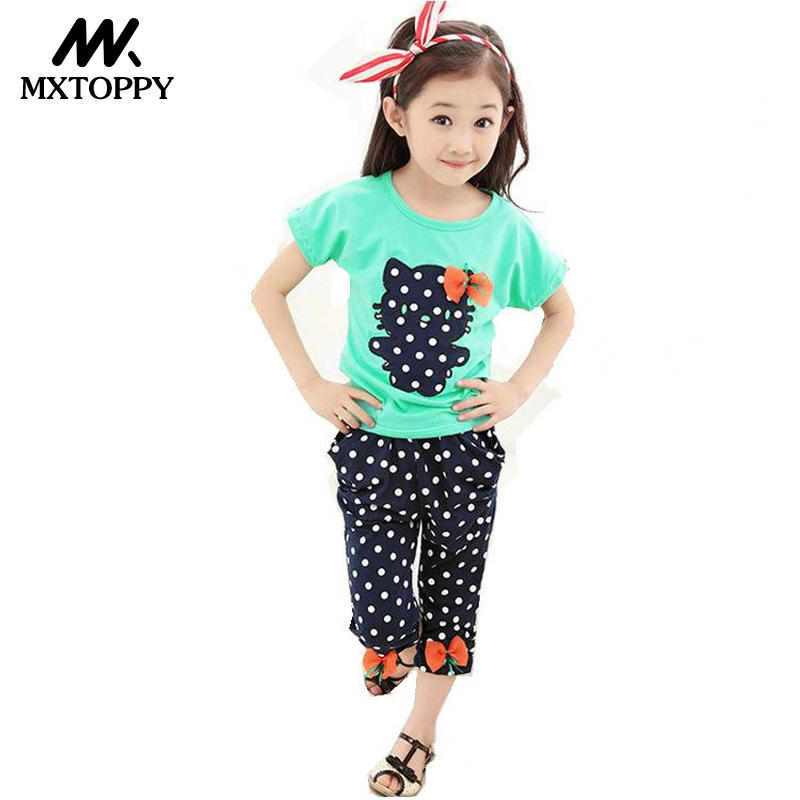 MXTOPPY 2018 Summer Girls Clothing Set Pants+Tops Wave Point kitty Bow Cute Girls Clothes Children Clothing Suits Kids Clothes