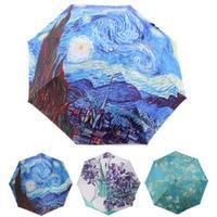 10 Pcs Lot High Quality Craft Van Gogh Oil Painting Anti Uv Umbrella Personalized Umbrella