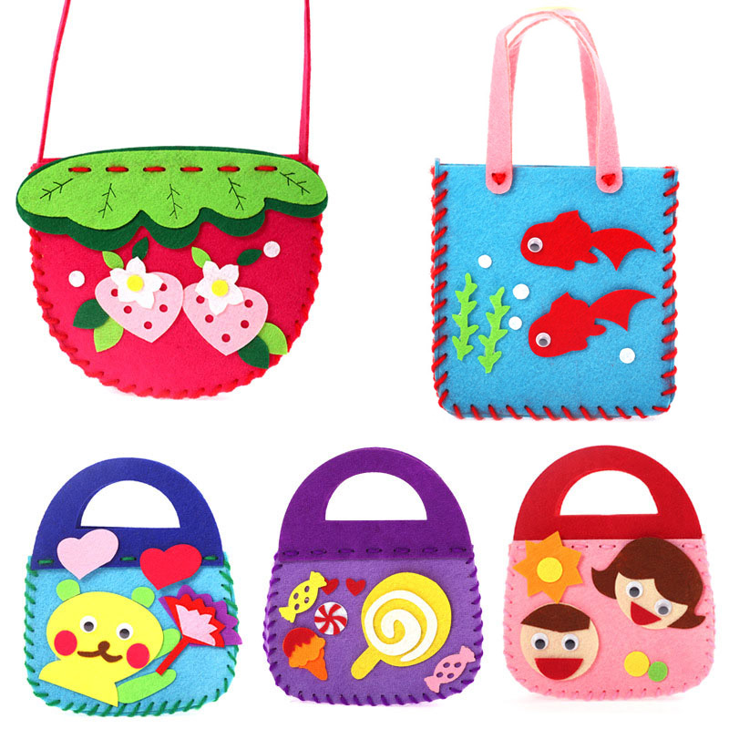 Children Cartoon Non-woven Cloth Handmade Bag DIY Animal Flower Children Handbags Toy Crafts Art Sewing Toy Craft Decor