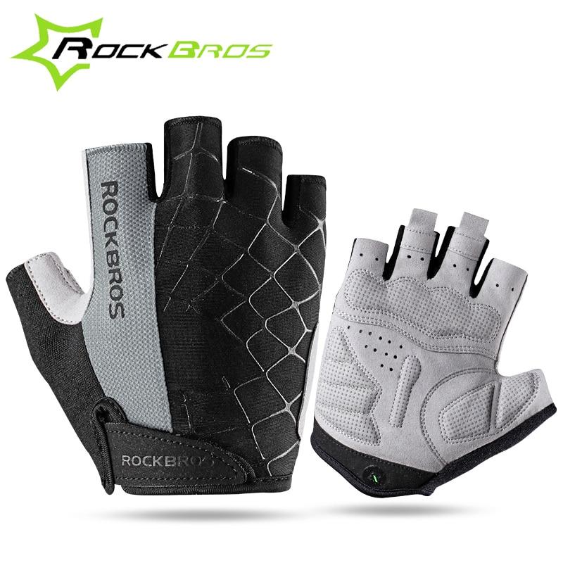 ROCKBROS Shockproof Breathable MTB Road Bicycle <font><b>Gloves</b></font> Sports Cycling Equipment Men Women Cycling Bike Half Short Finger <font><b>Gloves</b></font>
